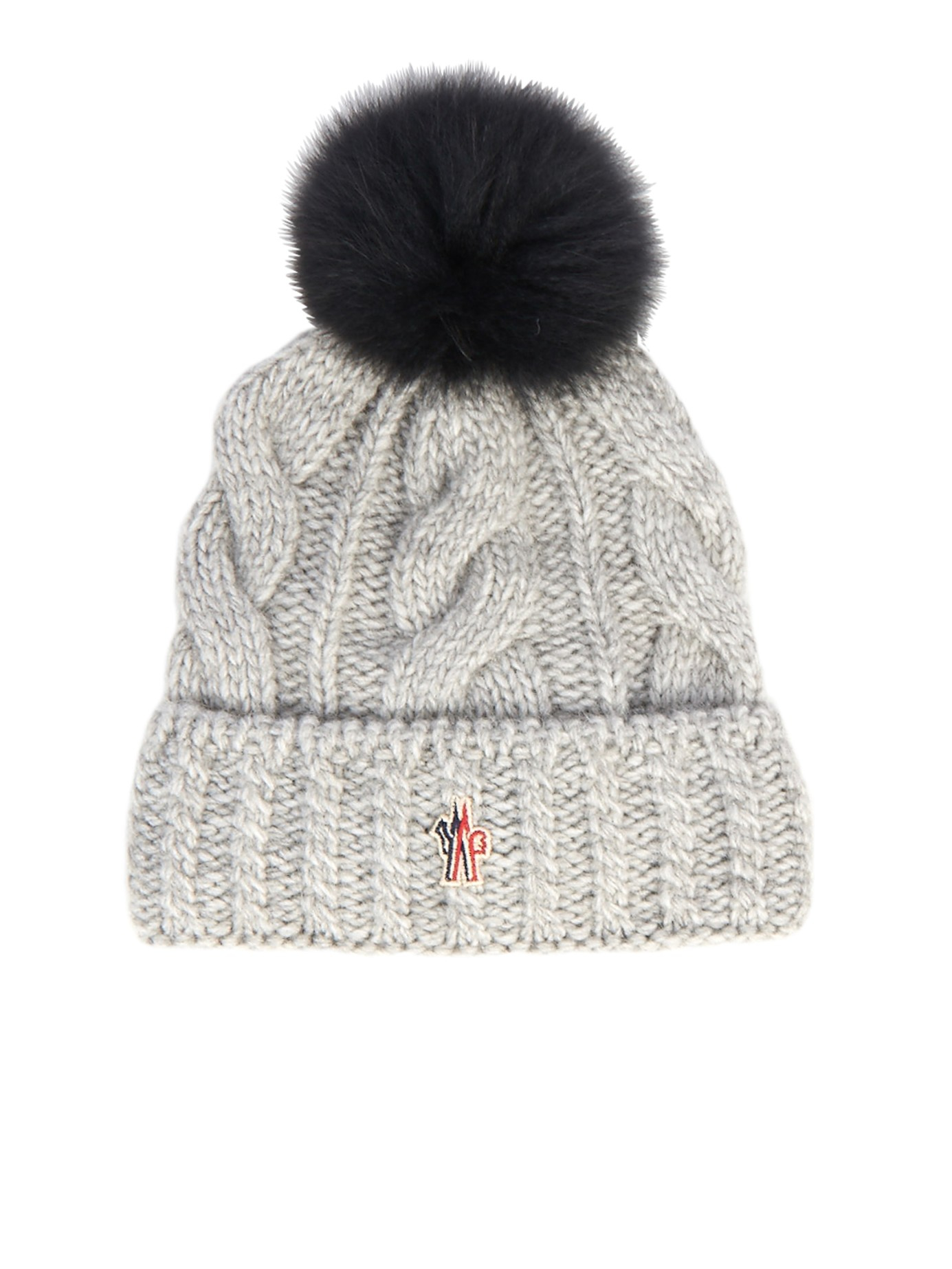c136d1d486b37 Moncler Grenoble Cable Knit Pompom Beanie in Gray - Lyst