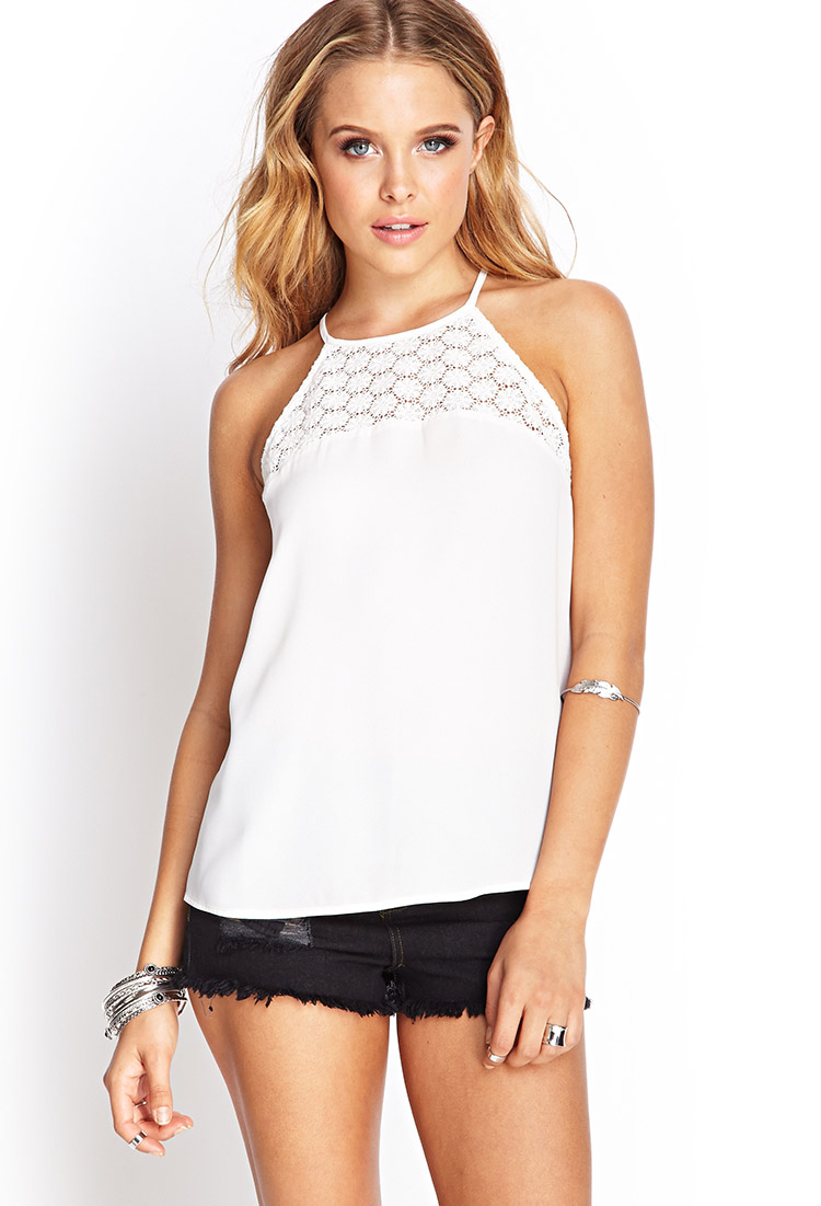 Forever 21 Floral Crochet Halter Top In White Lyst