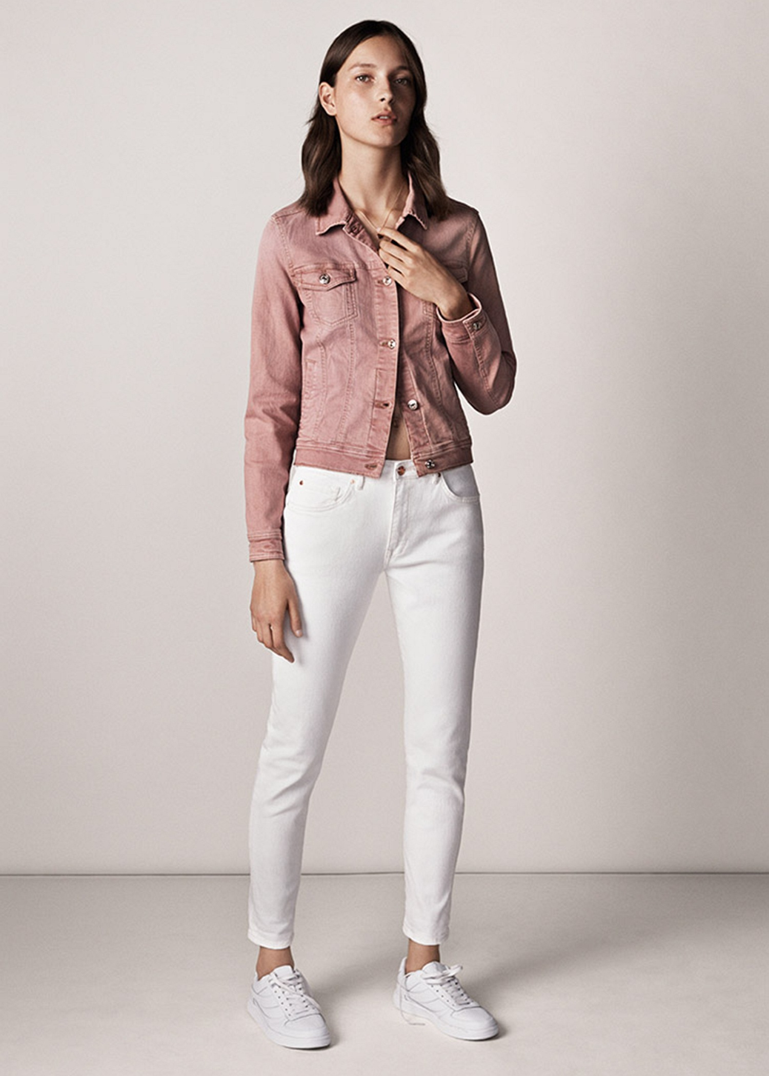 Mango Pink Denim Jacket in Pink | Lyst
