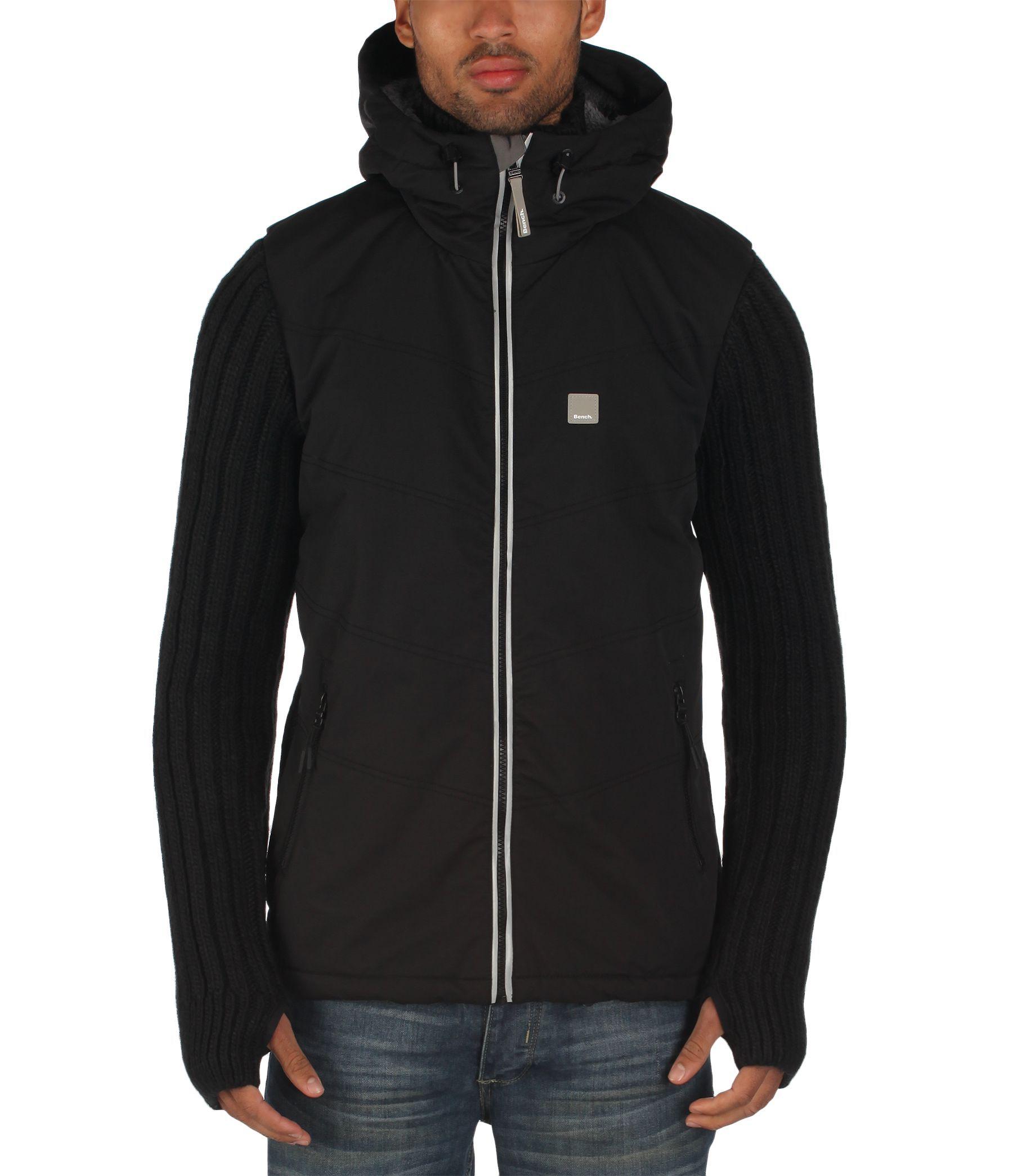 Bench Innerside Knitted Zip Thru Hoody In Black For Men Lyst
