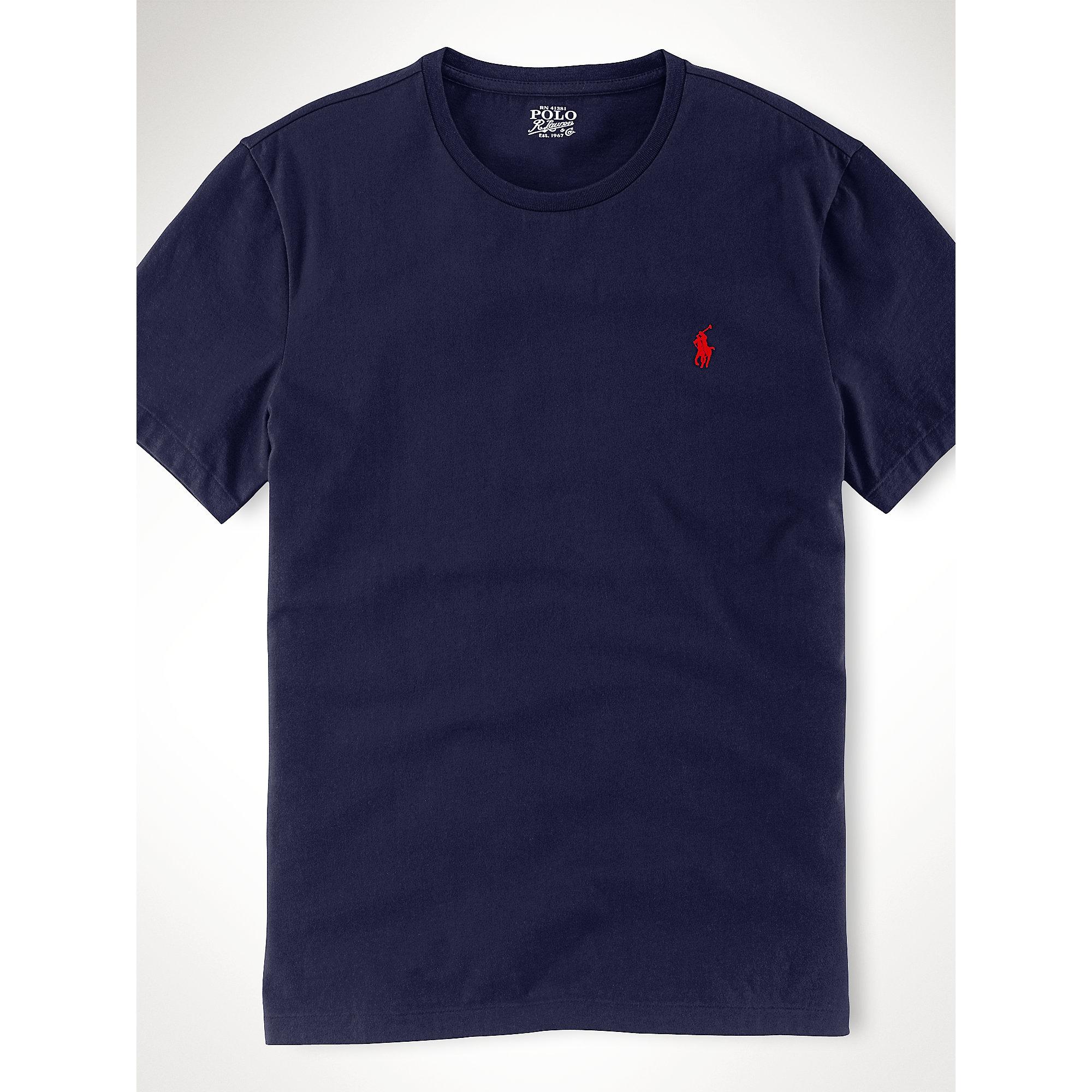 Polo ralph lauren custom fit t shirt in blue for men ink for Polo custom fit t shirts