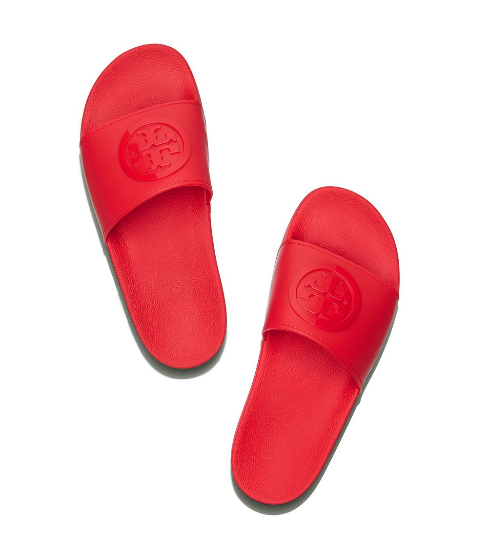 a7bc8aa813e Lyst - Tory Burch Logo Rubber Slides in Red