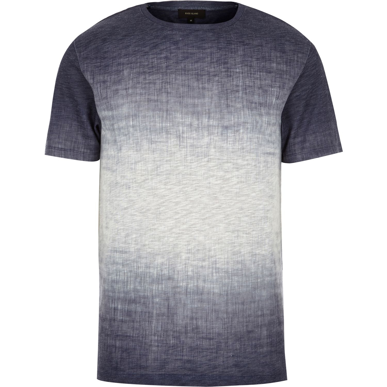 River island navy faded texture t shirt in blue for men lyst for Faded color t shirts