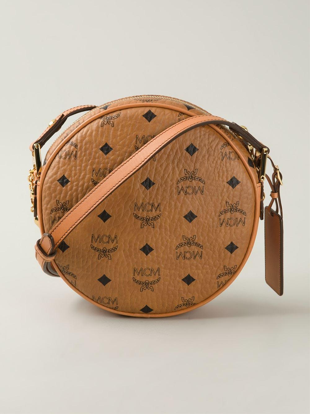 2076ea41e MCM 'Heritage Tambourine' Cross Body Bag in Brown - Lyst