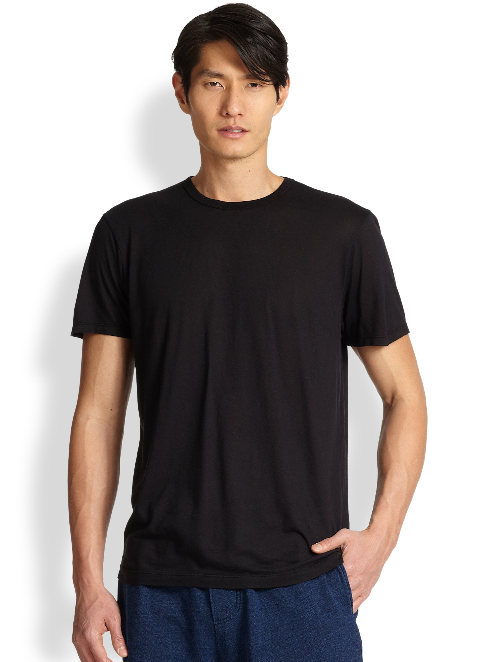 Splendid mills cotton modal crewneck tee in black for for Modal t shirts mens