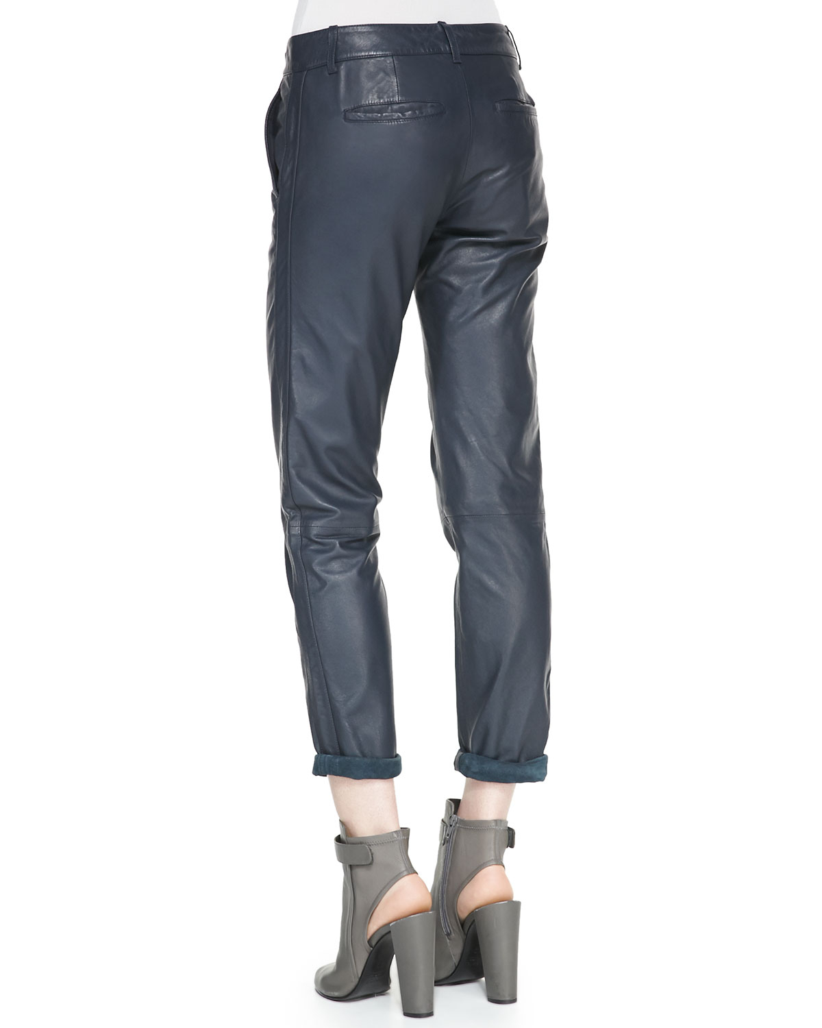 Vince Strapping Cuffed Straight Leg Leather Pants In Navy