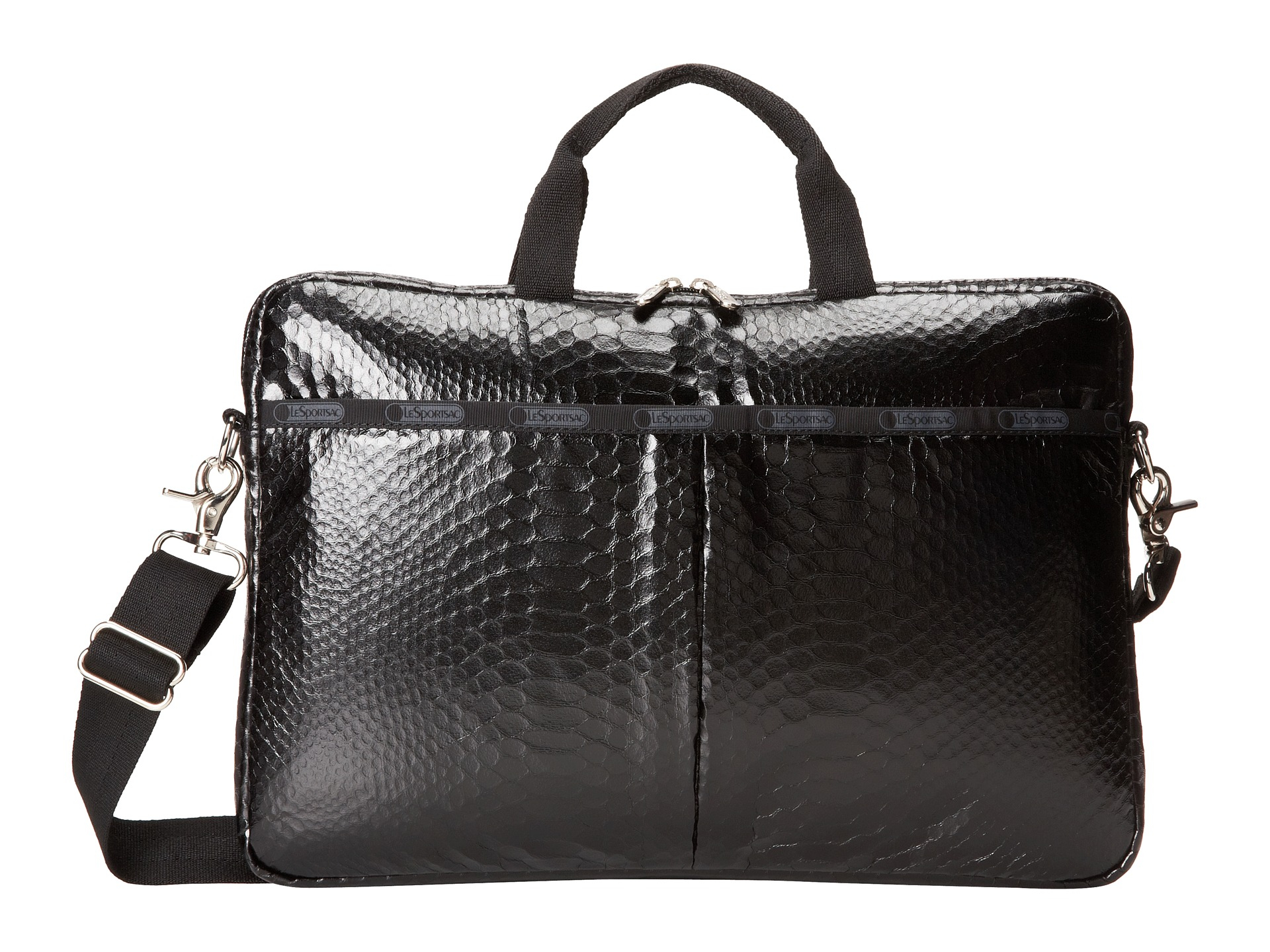 lesportsac 15 inch laptop bag in black leatherette snake