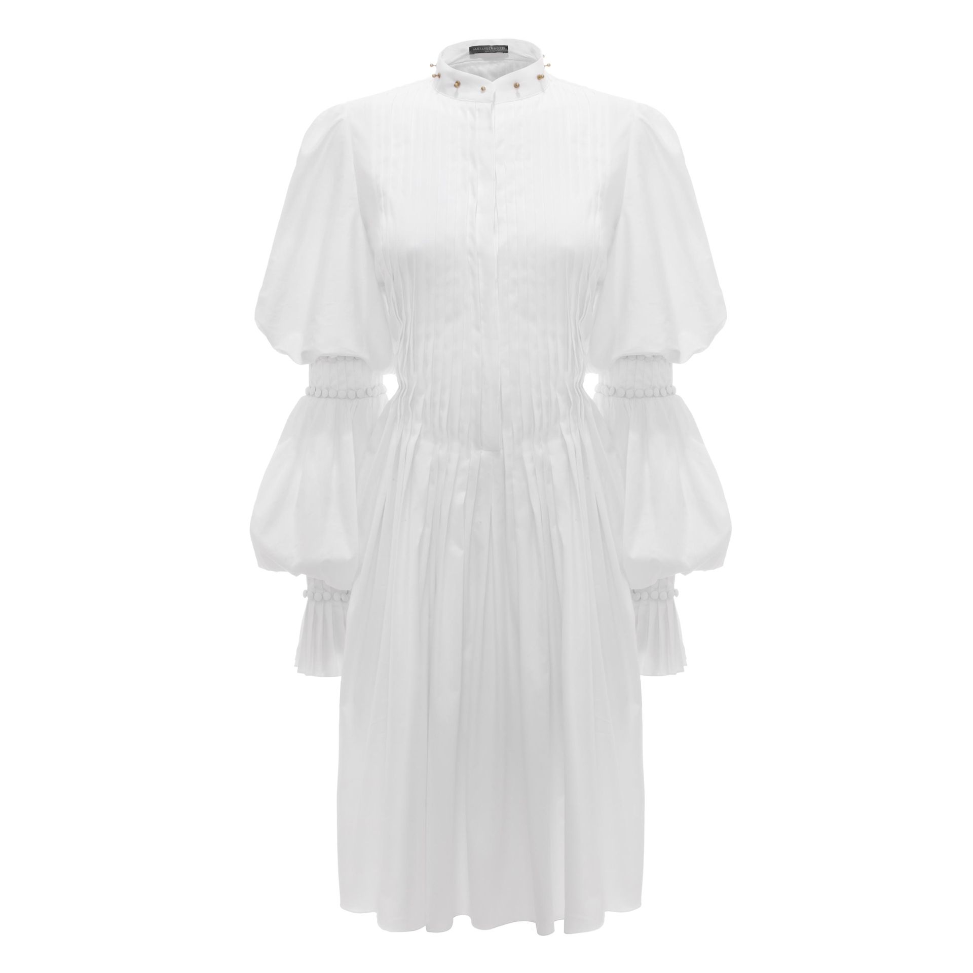 Alexander mcqueen pleated stud collar shirt dress in white for Dress shirt studs uk