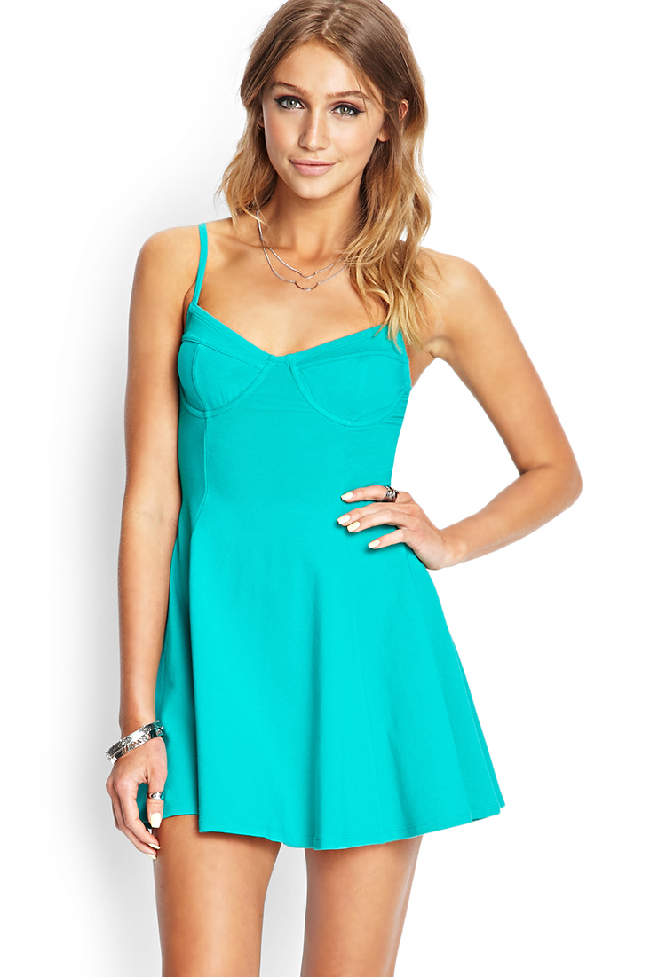 Forever 21 Soft Knit Bustier Dress In Teal Blue Lyst