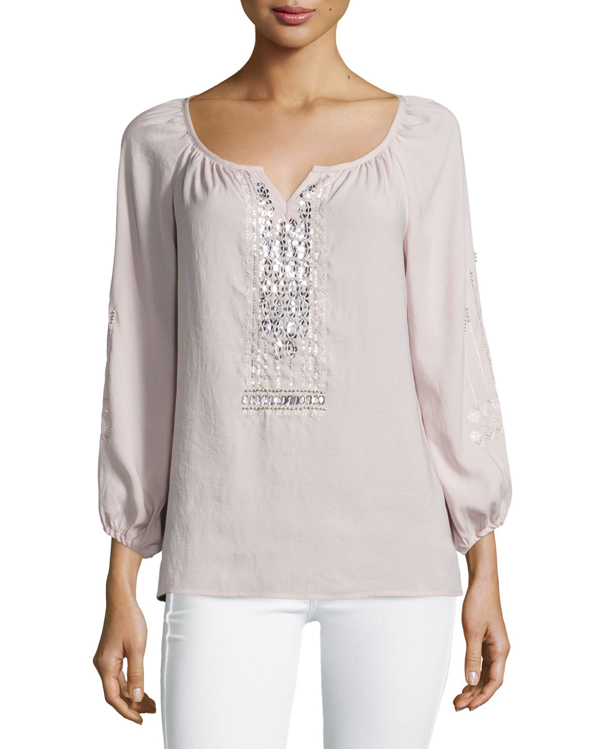 Nanette lepore Long-sleeve Embellished Peasant Blouse in ...