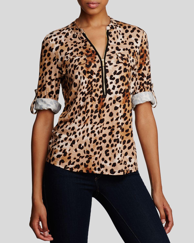b1226e2f60 Calvin Klein Animal Print Zip Front Knit Blouse - Lyst