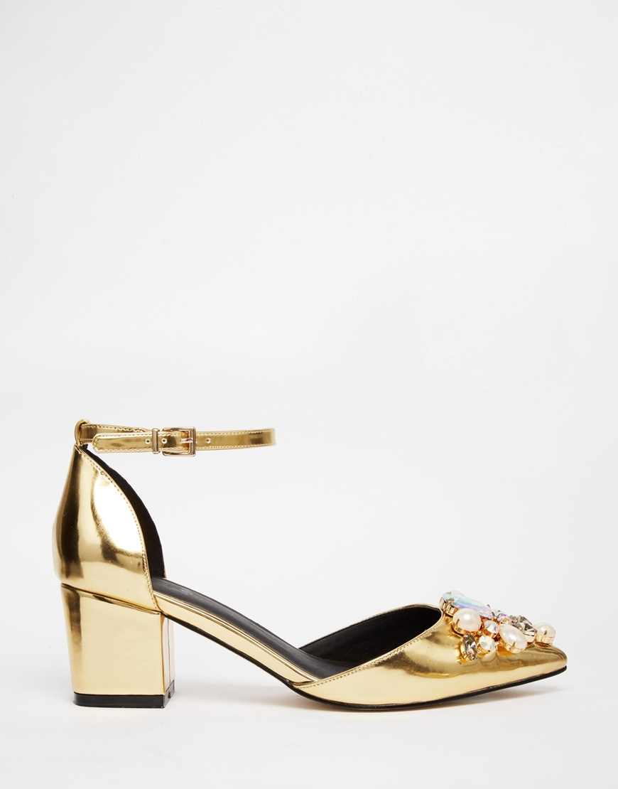 b5140764ca0d ASOS Sparkle Embellished Heels in Metallic - Lyst