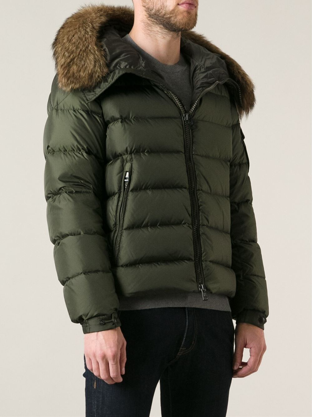 Moncler Byron Fur Hood Padded Jacket in Green for Men | Lyst