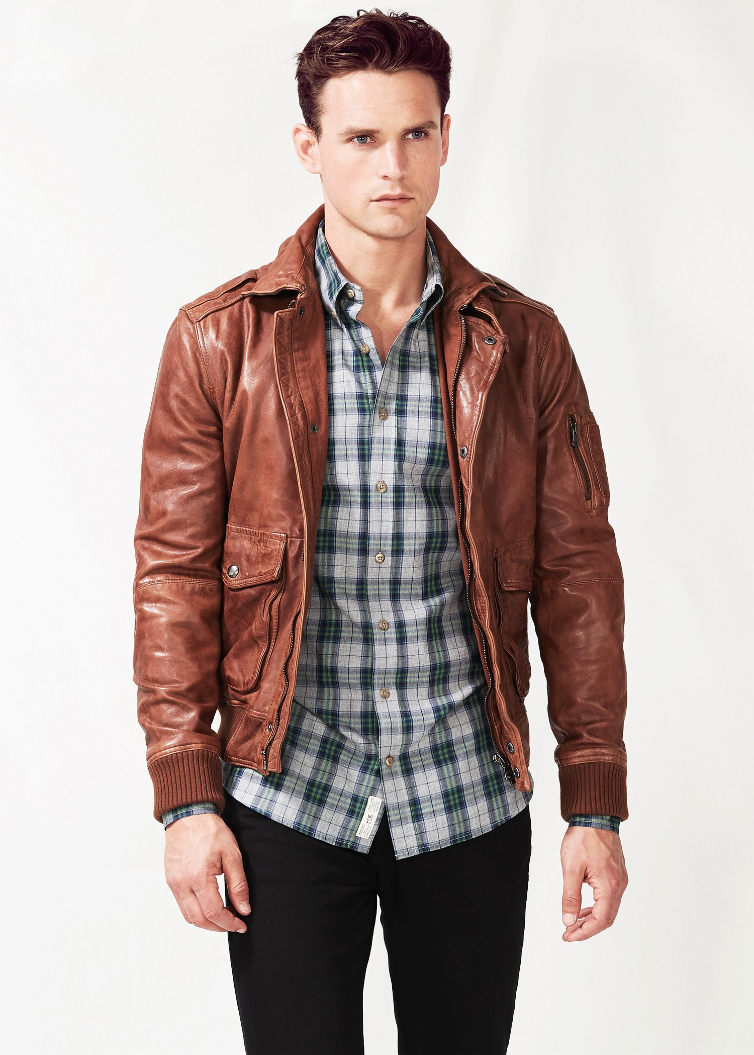 Mango Leather Aviator Jacket in Brown for Men | Lyst
