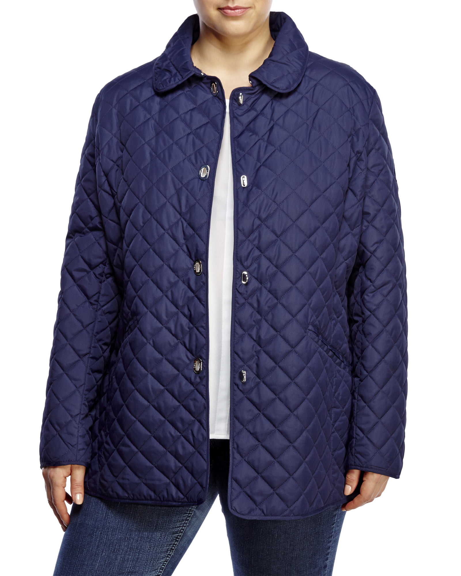 Plus Size Navy Diamond Quilted Jacket