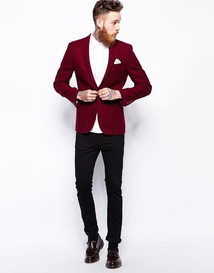 asos slim fit blazer in 100 wool in red for men lyst. Black Bedroom Furniture Sets. Home Design Ideas