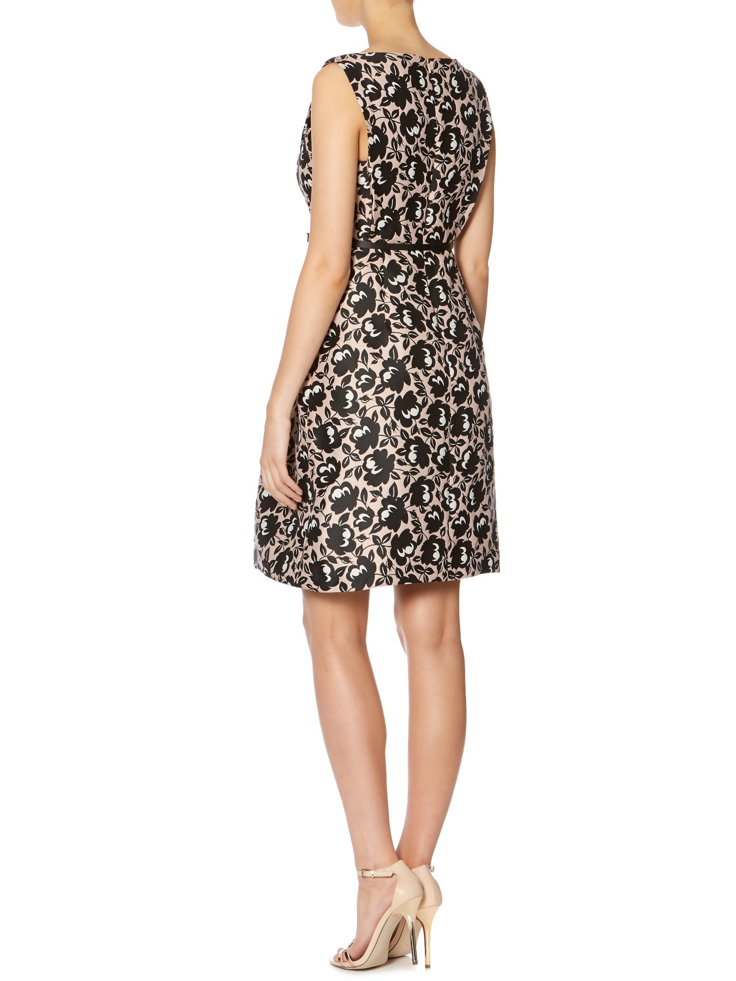 Max Mara Blocco Printed A Line Dress With Belt In Black Lyst