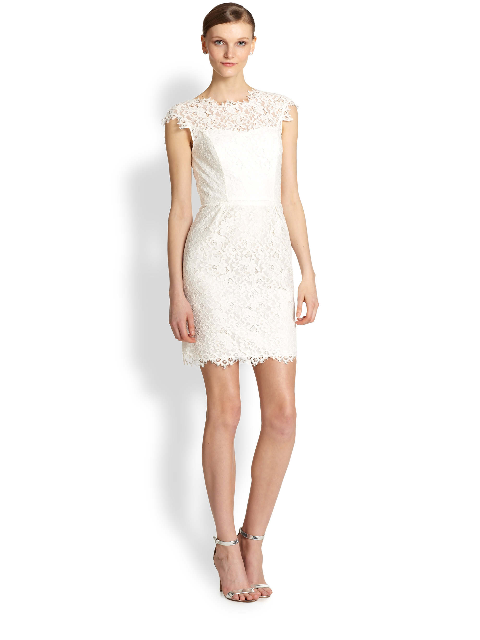 Shoshanna Scarlett Lace Dress in White | Lyst