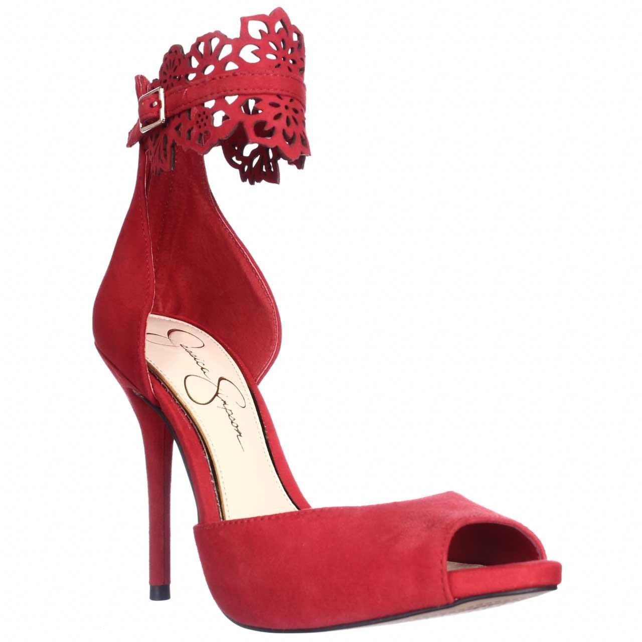 Jessica simpson Bonney Ankle-strap Heels in Red | Lyst