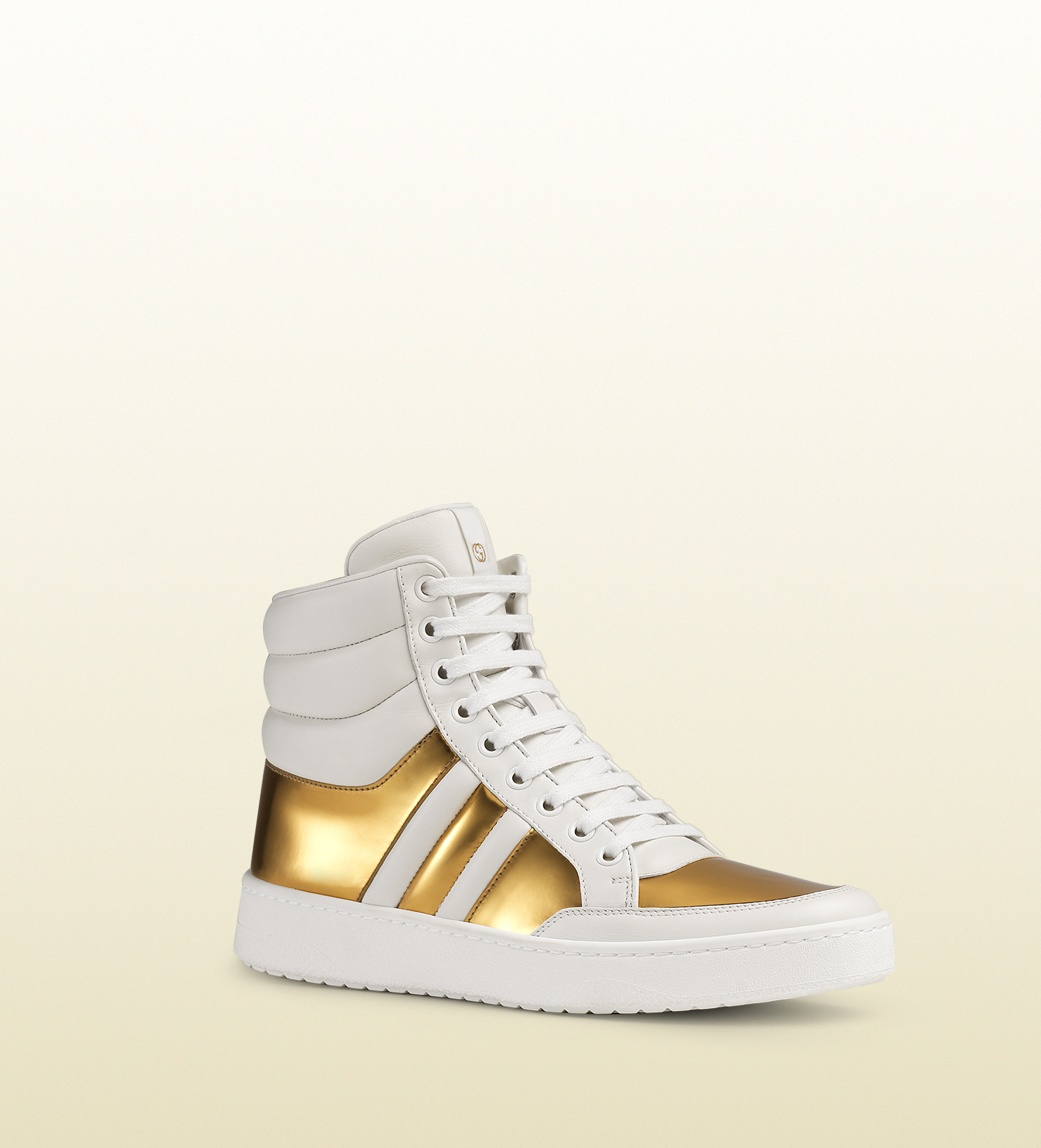 Gucci Shoes White And Gold