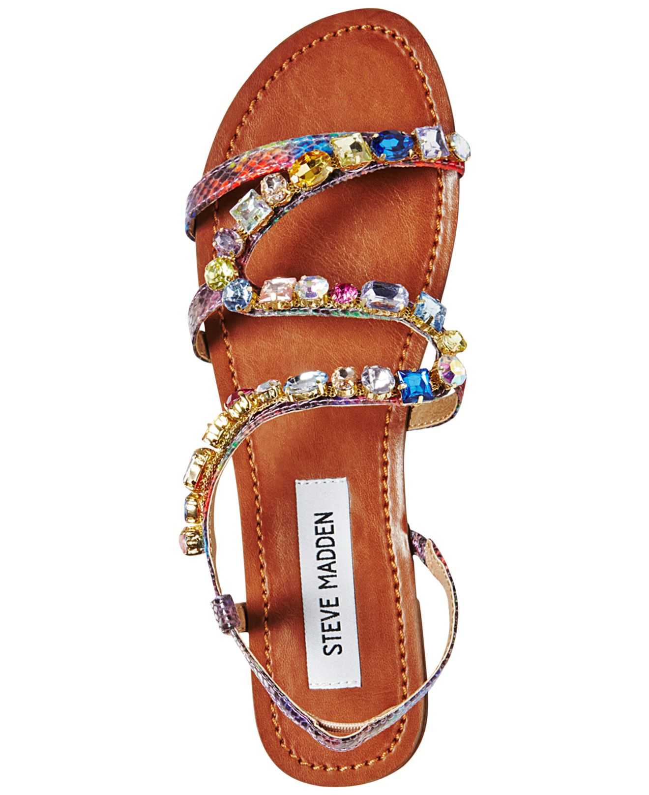 f5d38f13f12 Steve Madden Multicolor Blazzzed Jeweled Flat Sandals