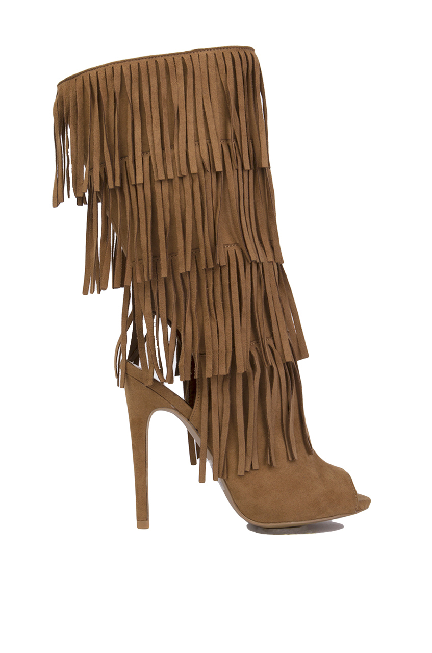 peep toe fringe heeled boots camel suede in brown