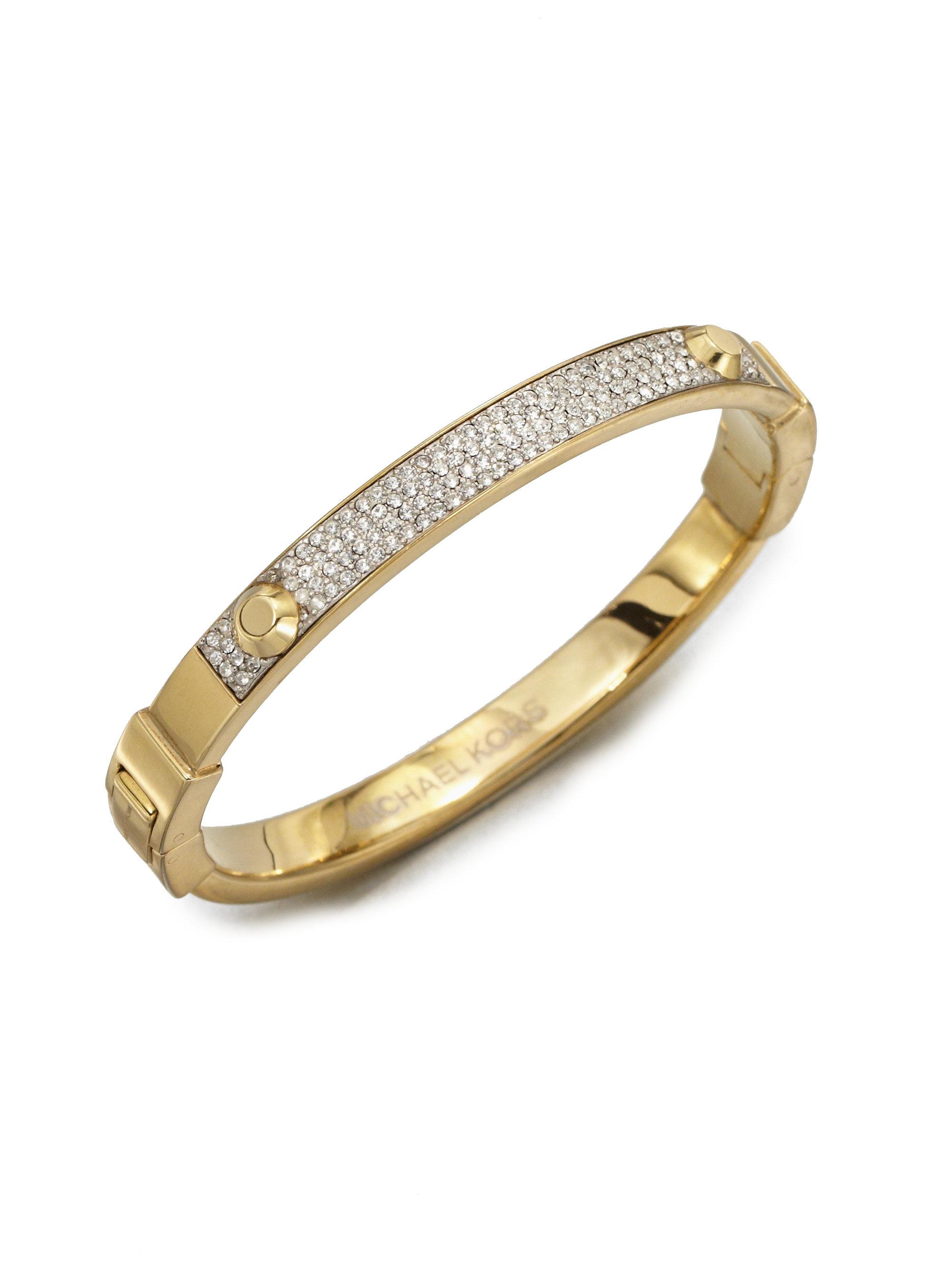 michael kors studded pav 201 bangle bracelet goldtone in gold