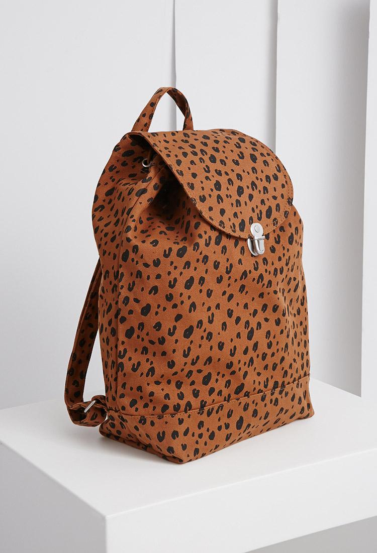 Forever 21 Baggu Leopard Backpack In Brown Lyst