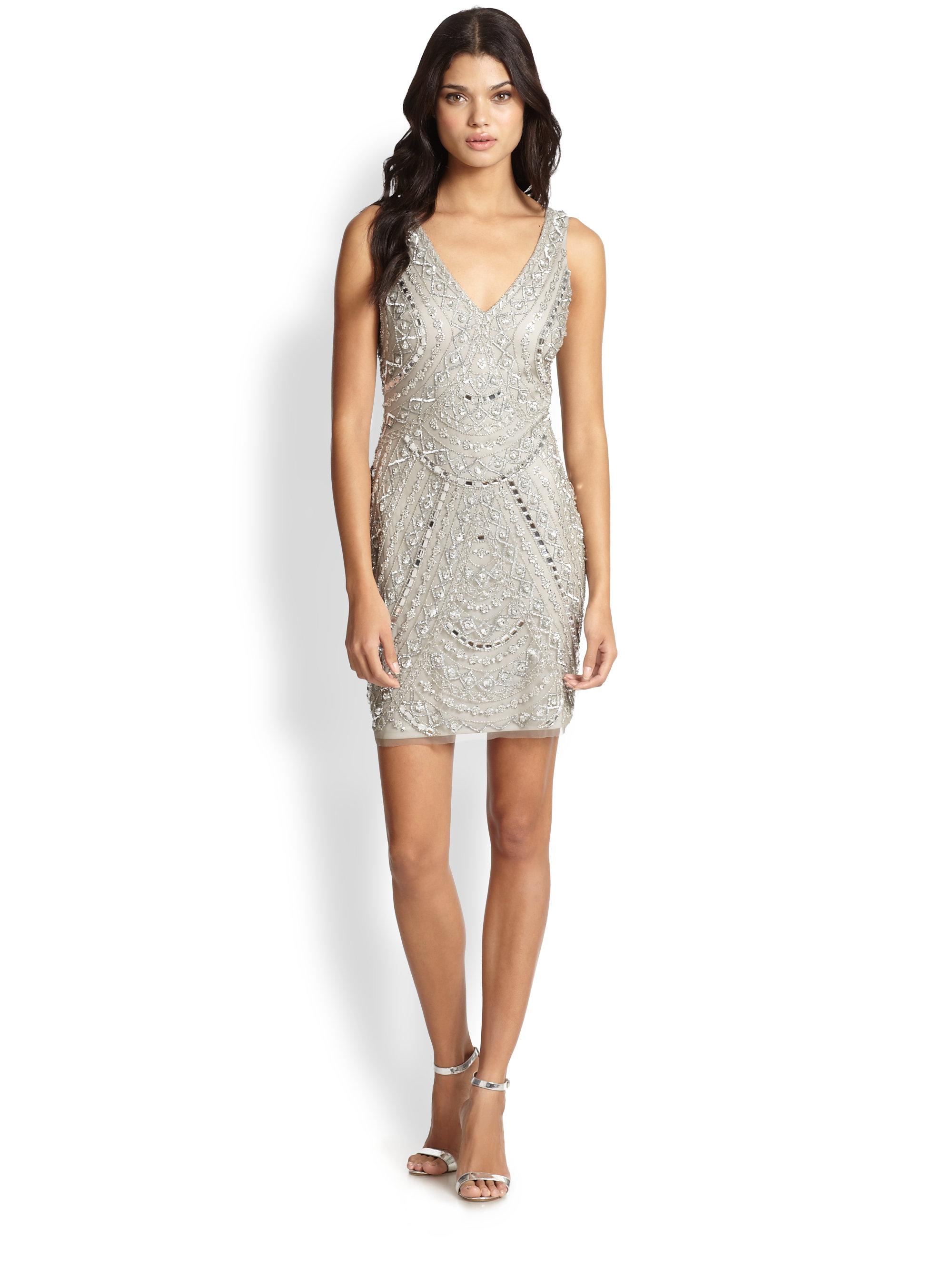 aidan mattox beaded dress in metallic lyst