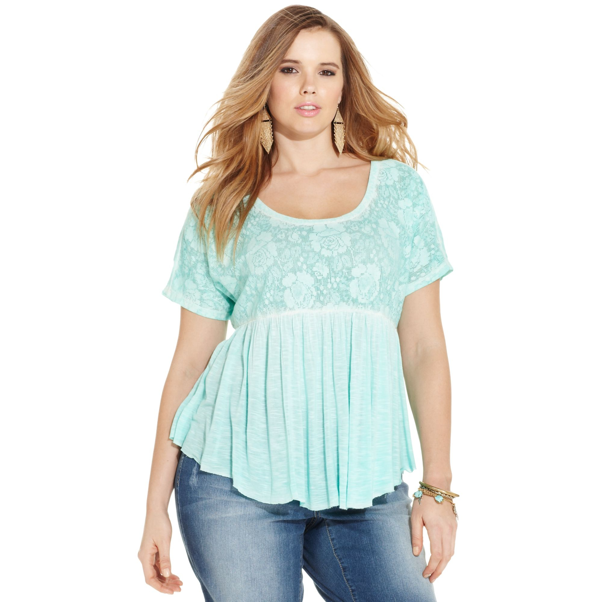 Lyst - Jessica Simpson Plus Size Shortsleeve Lace Babydoll ...