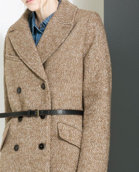 Zara Masculine Coat With Checked Lining In Beige Beige