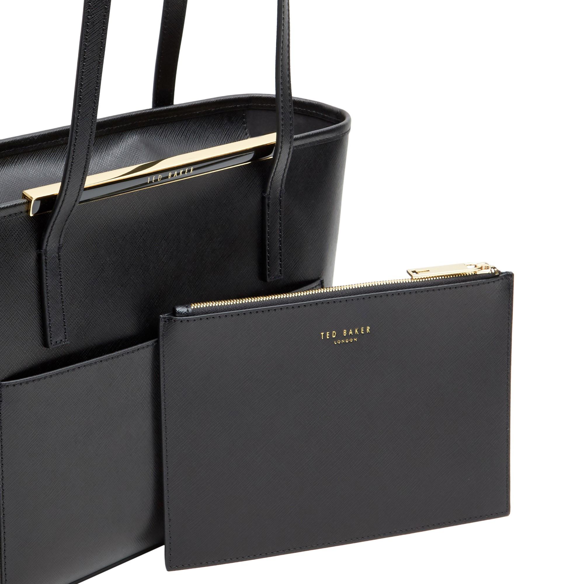 160cbfaec Ted Baker Amilee Small Crosshatch Leather Shopper Bag in Black - Lyst