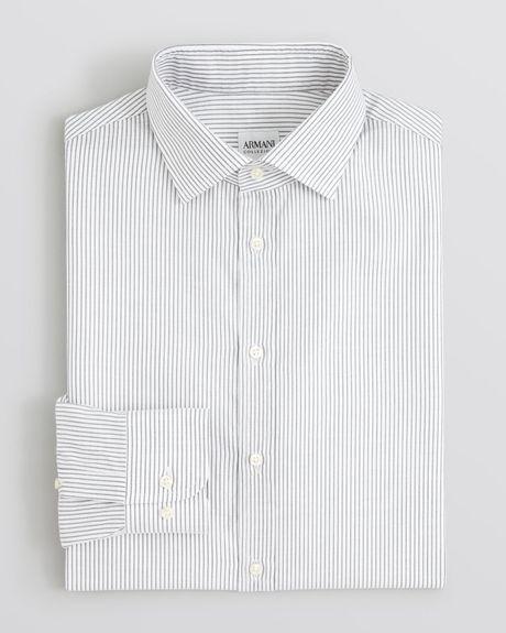 Armani Textured Stripe Dress Shirt Regular Fit in Gray