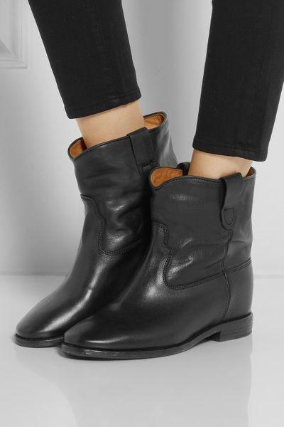 isabel marant toile cluster leather concealed wedge ankle boots in black lyst. Black Bedroom Furniture Sets. Home Design Ideas