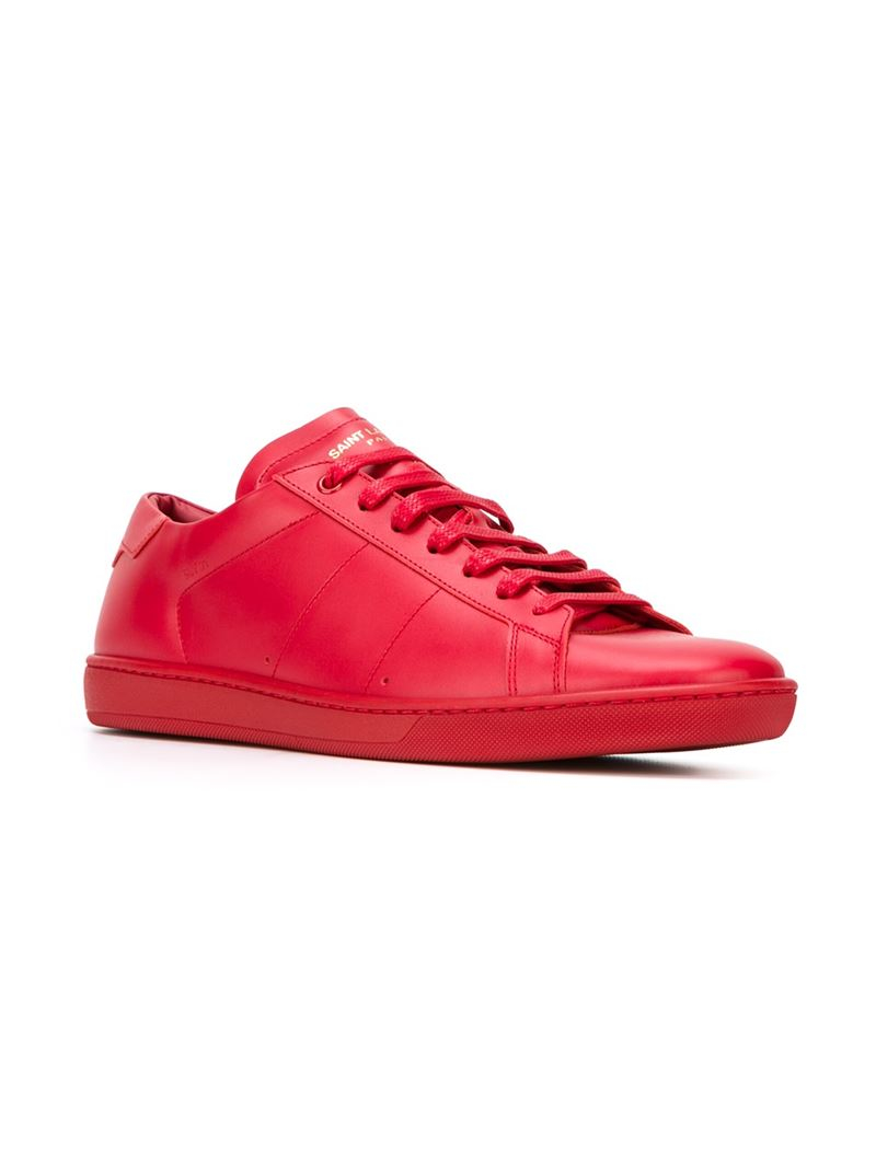 saint laurent 39 court classic 39 sneakers in red for men lyst. Black Bedroom Furniture Sets. Home Design Ideas