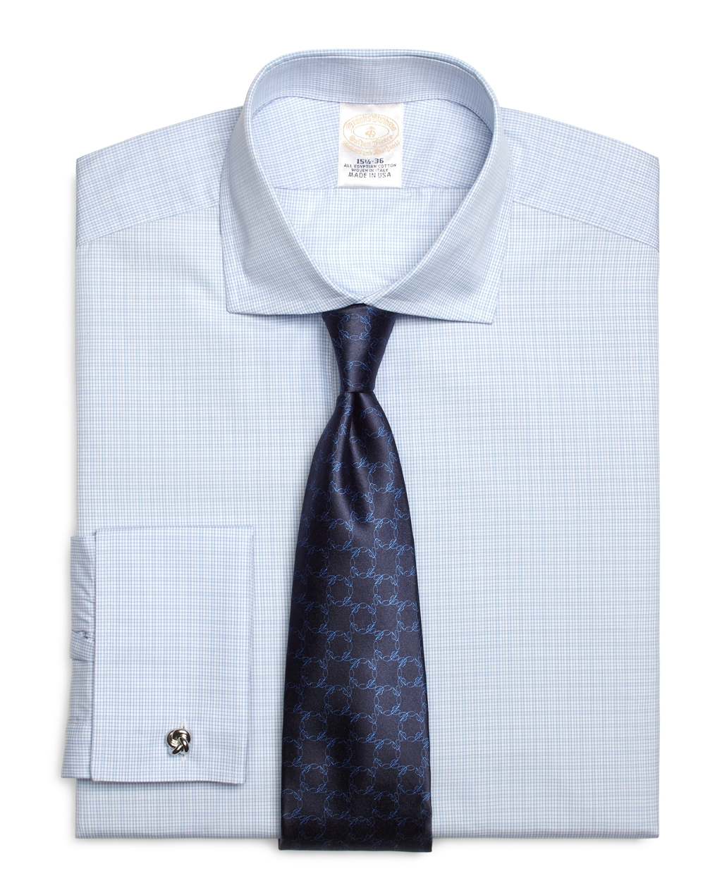 Brooks brothers golden fleece regent fit french cuff for Light blue french cuff dress shirt