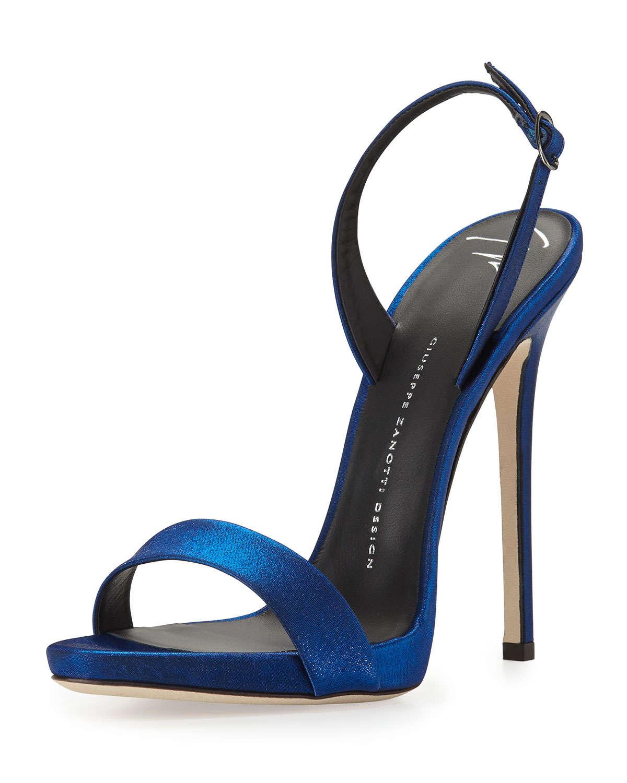 Giuseppe Zanotti Satin Slingback Sandal In Blue Lyst