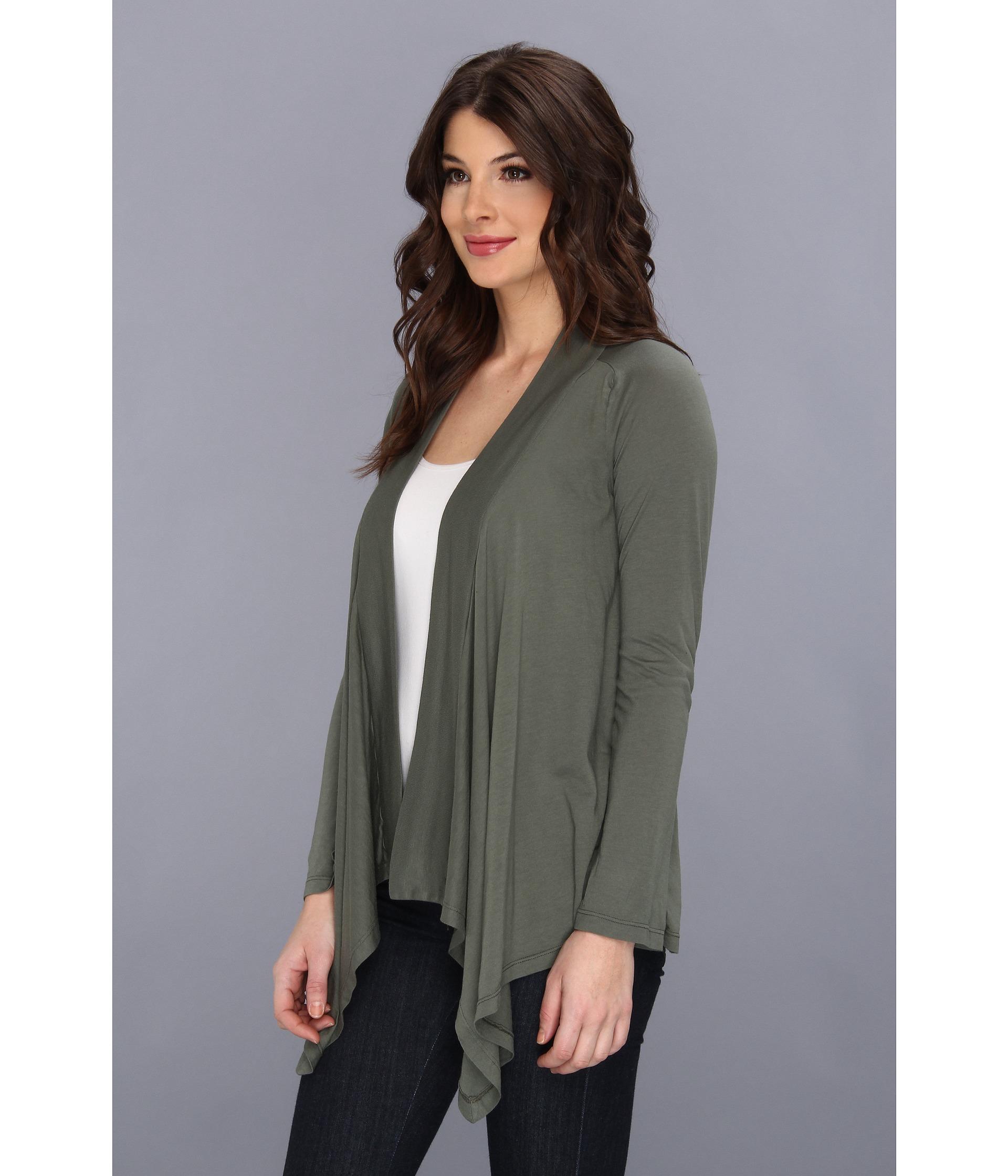 Splendid Very Light Jersey Drape Cardigan In Green