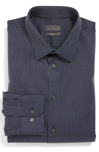 calibrate trim fit non iron dress shirt in blue for men lyst