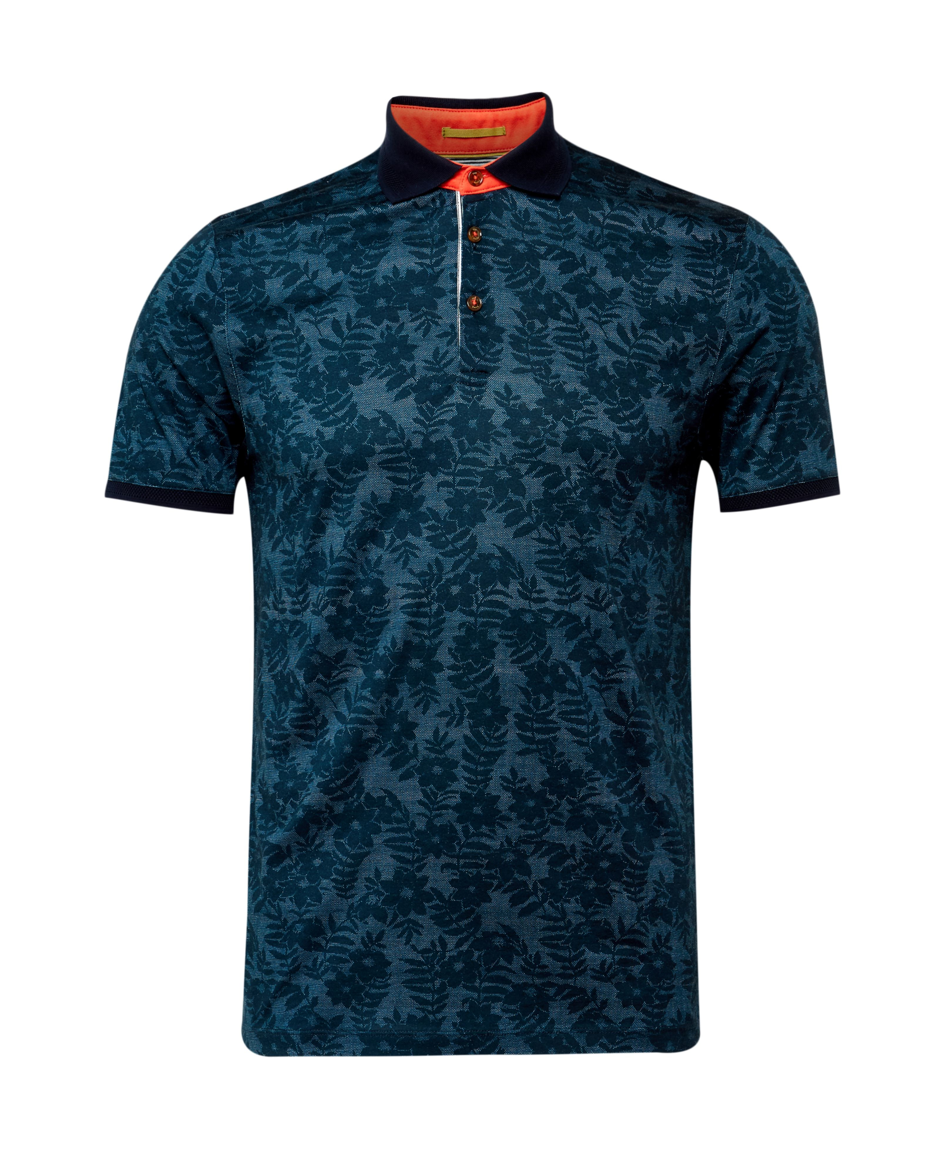 Ted baker floral print polo shirt in blue for men lyst for Ted baker floral print shirt