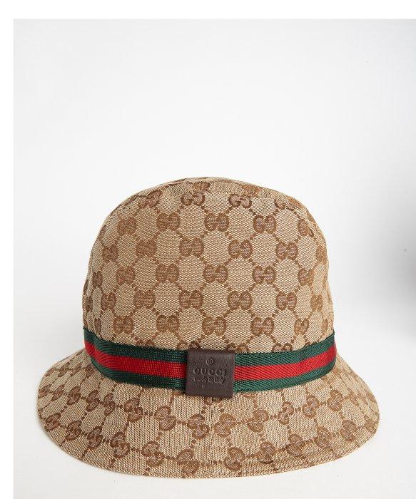 Gucci Hats For Men: Gucci Beige Sima Canvas Web Stripe Bucket Hat In Natural