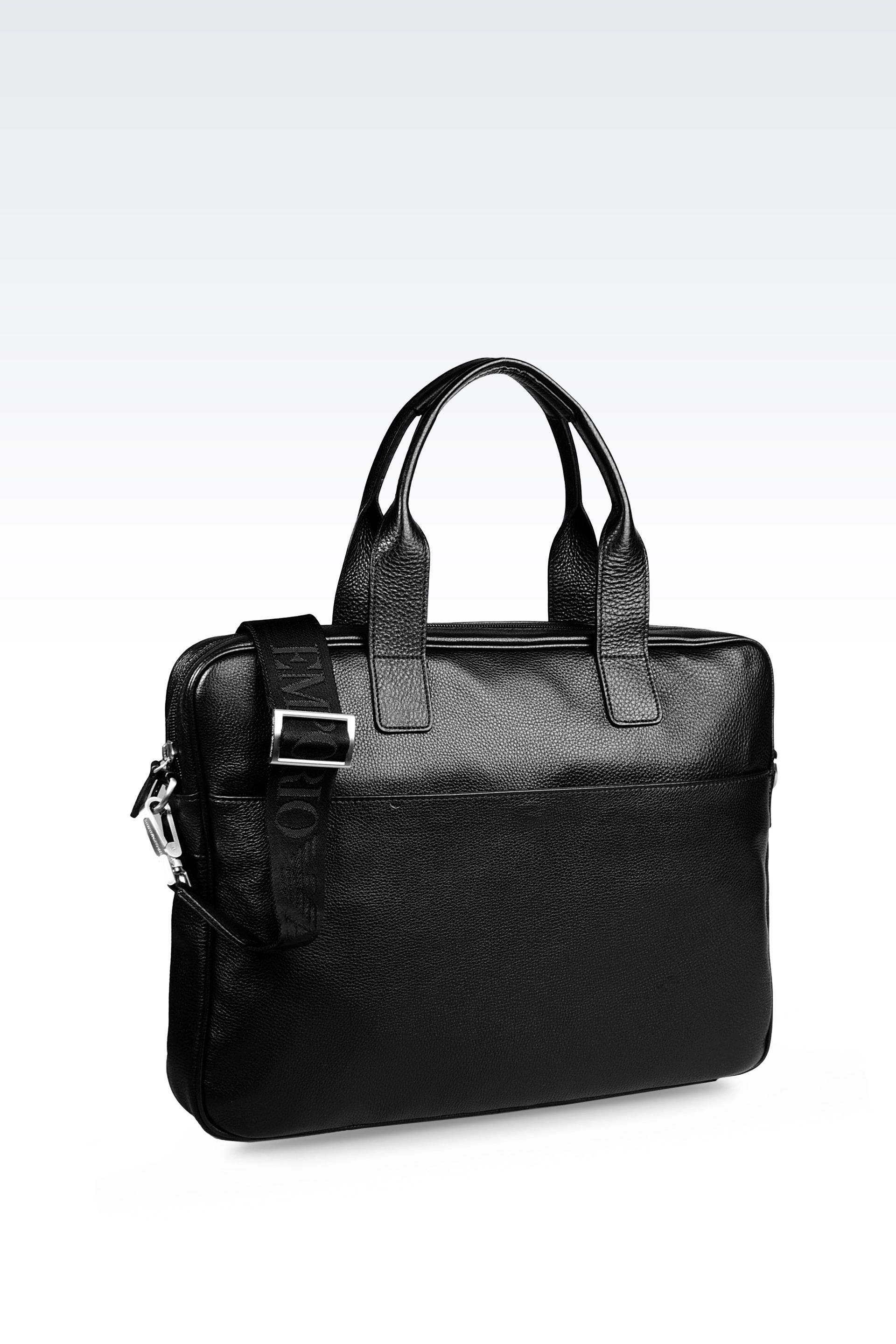 Lyst - Emporio Armani Laptop Bag In Tumbled Calfskin in Black for Men c61e8f6fe7779