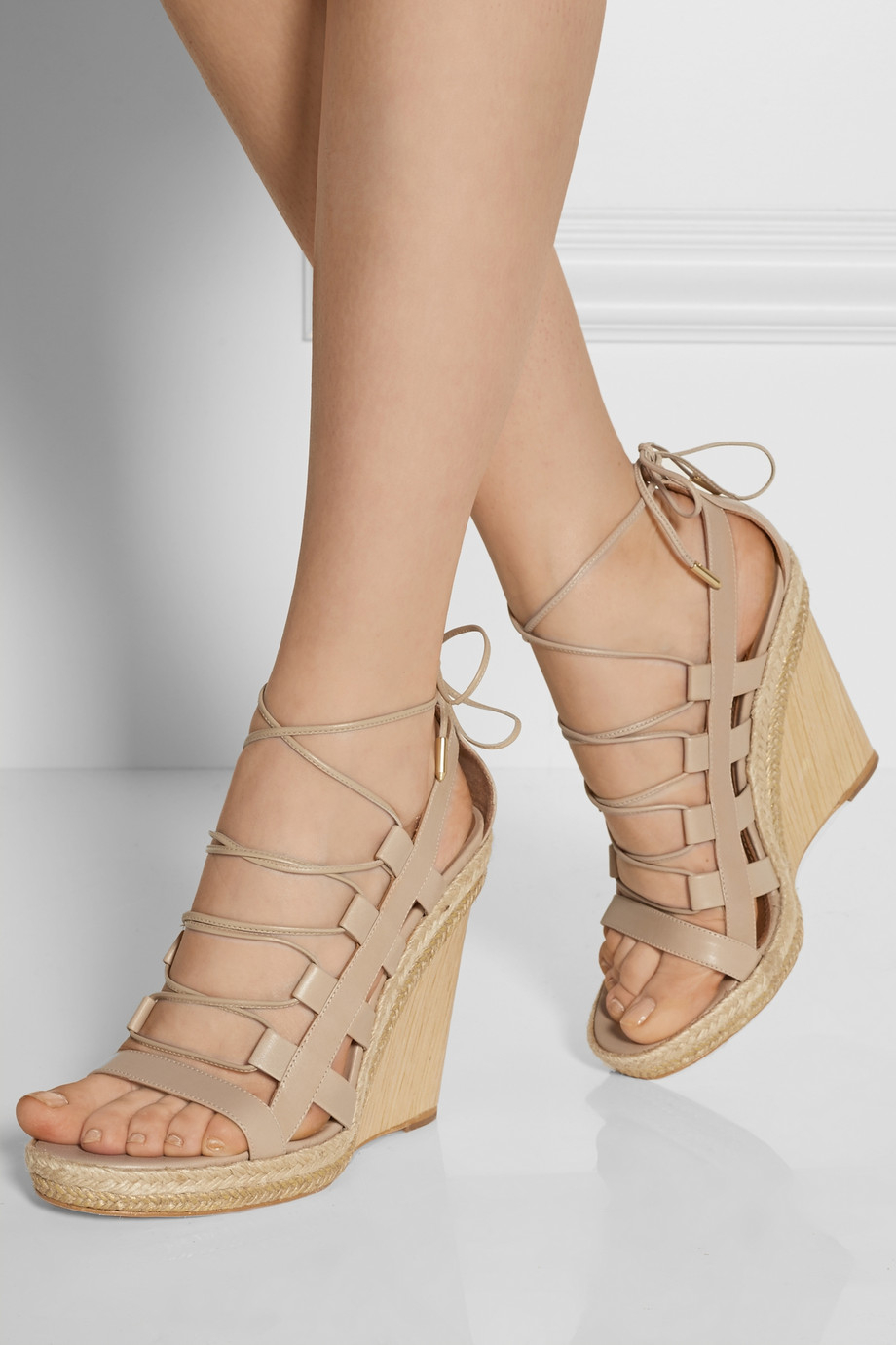 Lyst - Aquazzura Amazon Leather, Rope And Wood Wedge ...