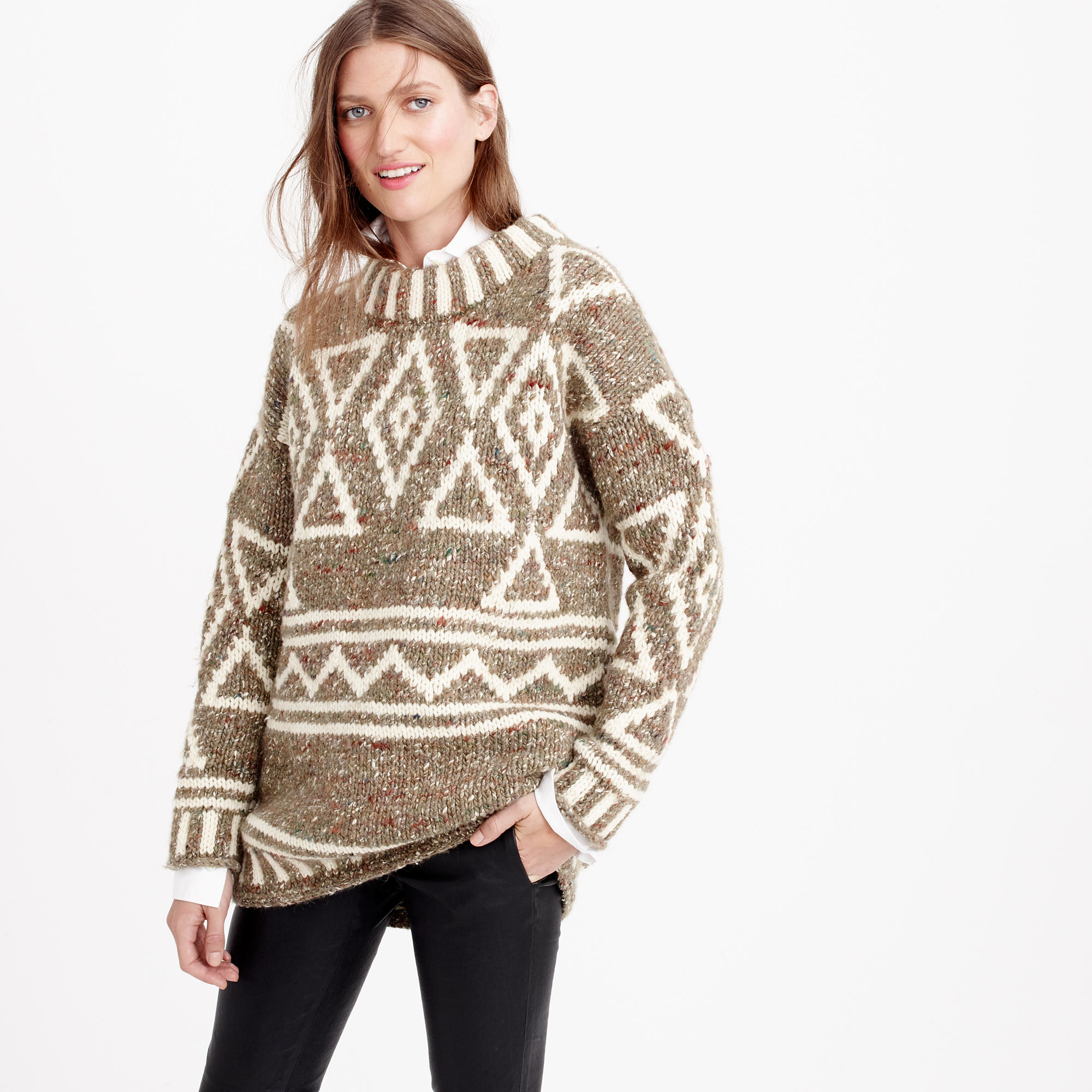 J.crew Collection Abstract Fair Isle Sweater in Brown | Lyst