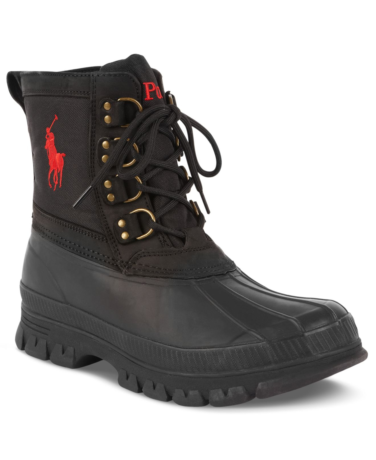 polo ralph crestwick duck boots in black for