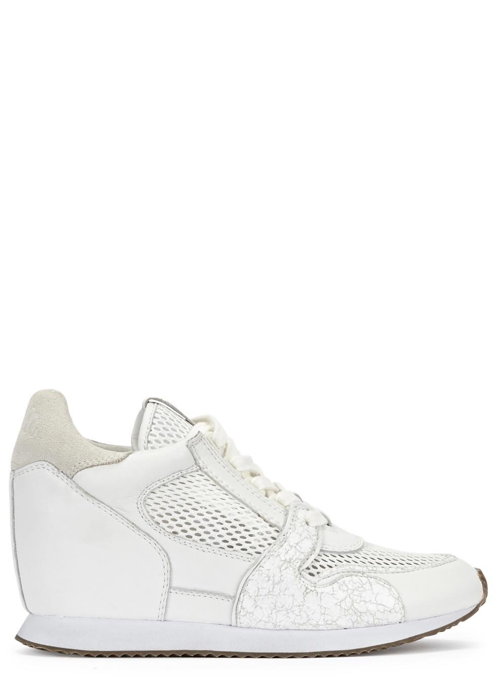 Ash Dean White Leather Wedge Trainers