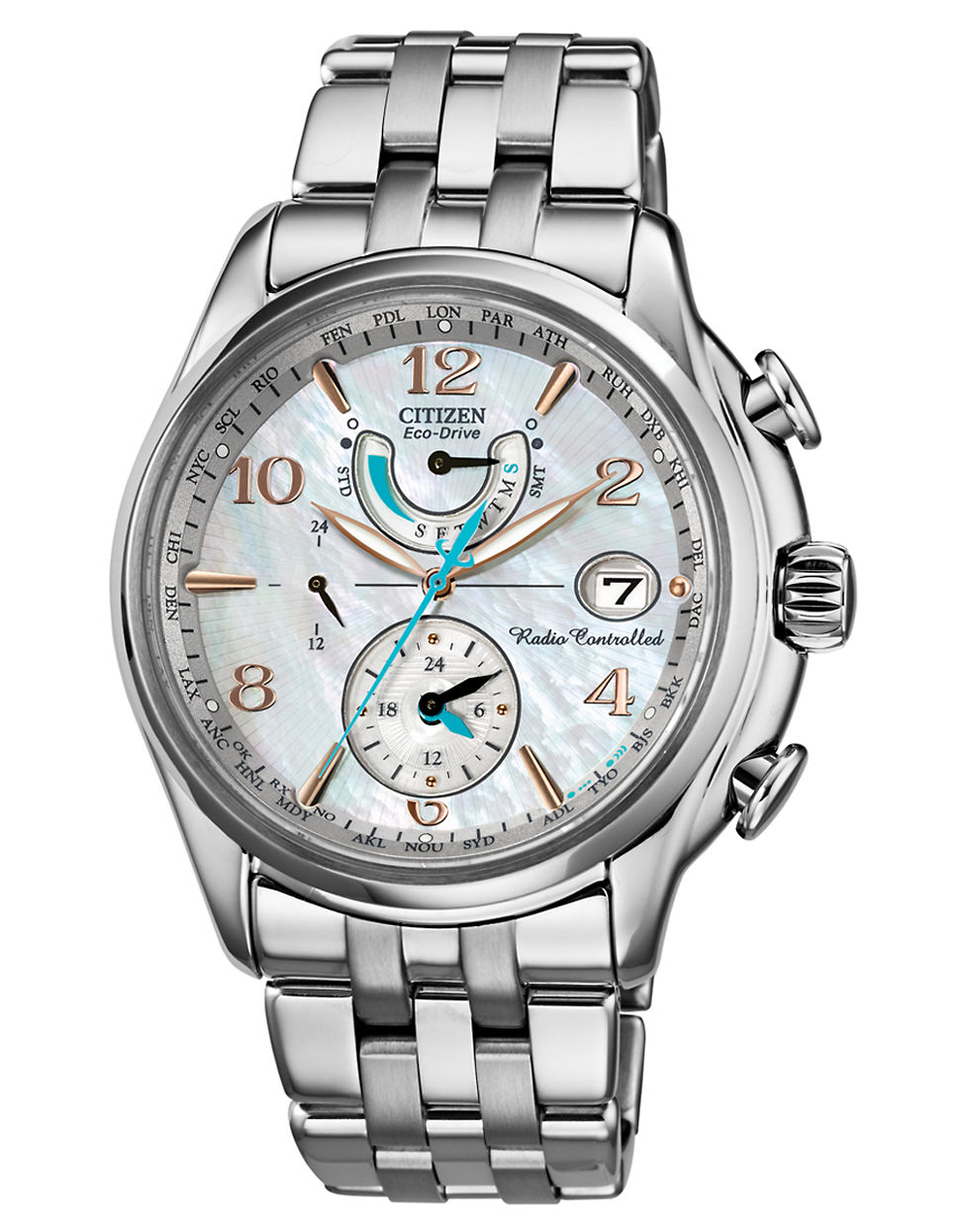 citizen eco drive stainless steel world time a t