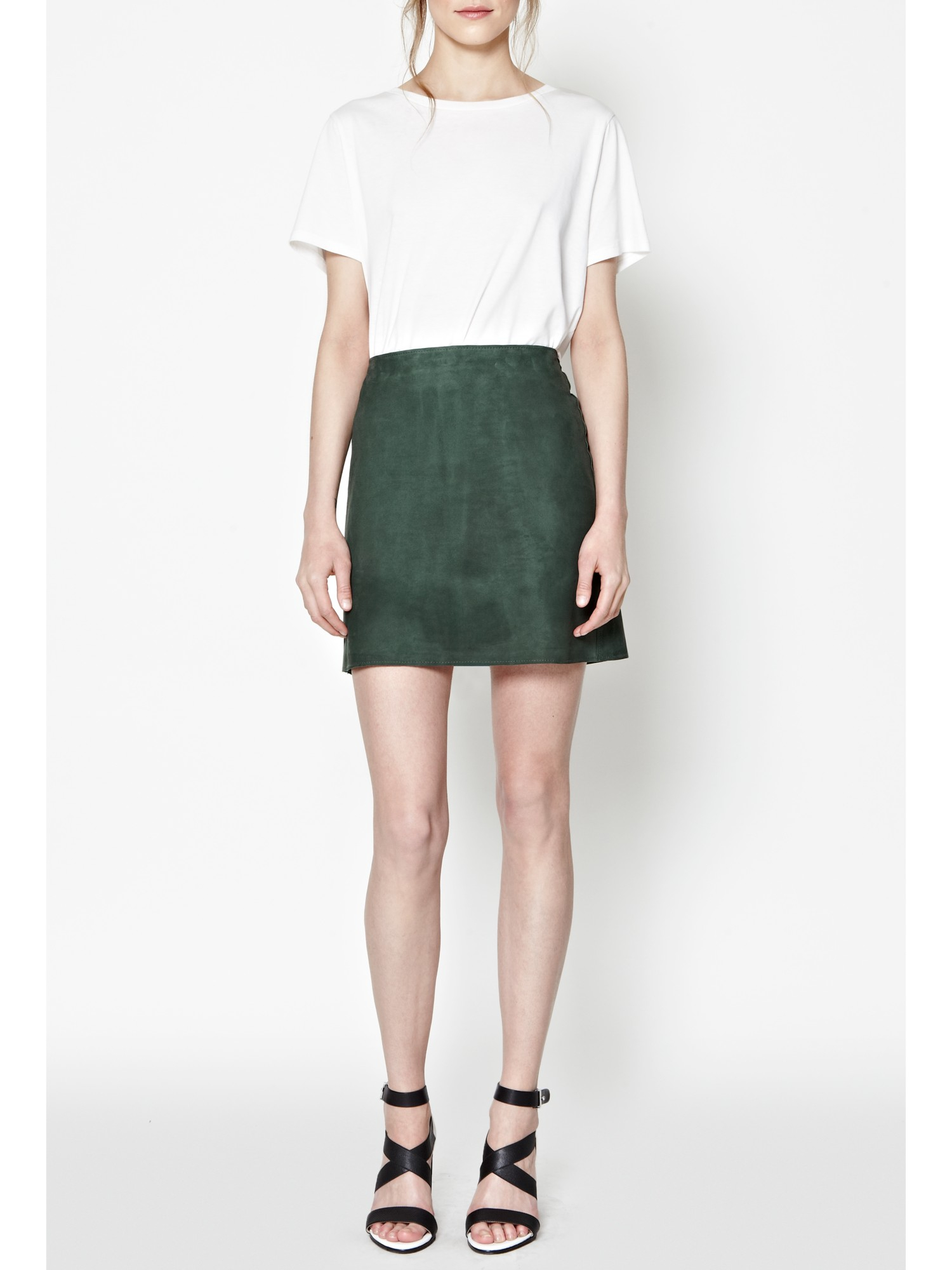 French connection Sandie Suede Mini Skirt in Green | Lyst