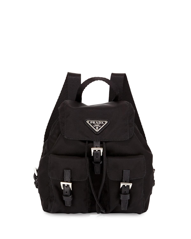 337d29a456866 Lyst - Prada Vela Nylon Crossbody Backpack in Black