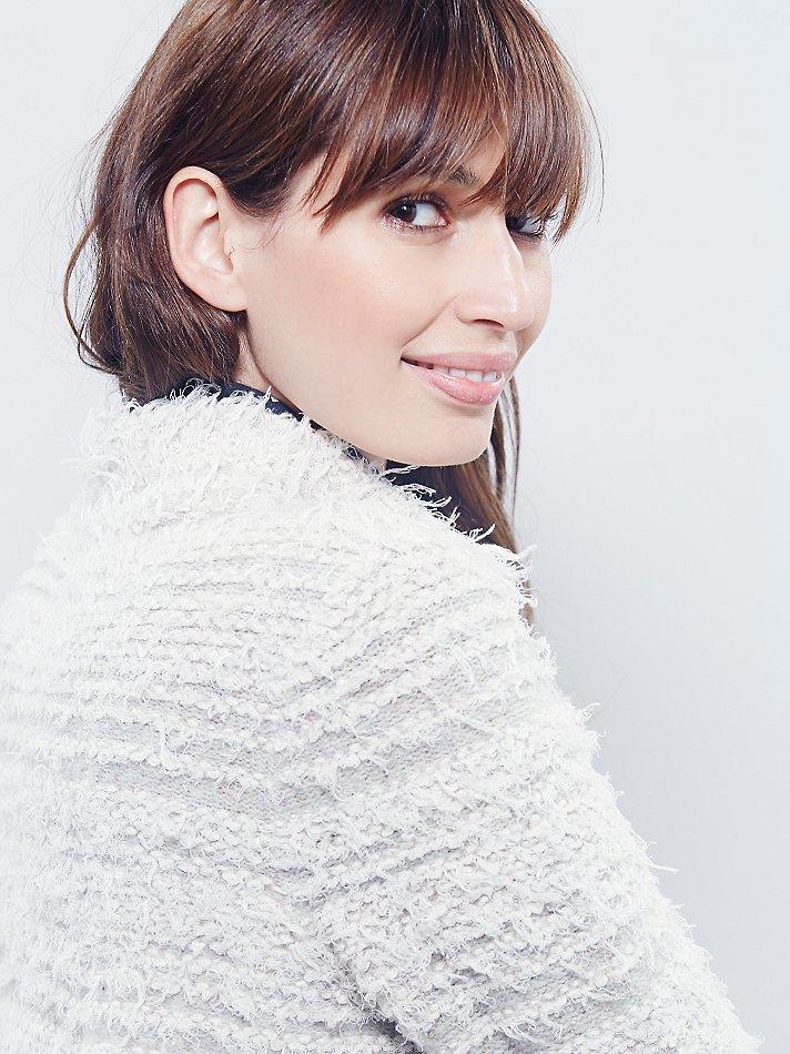 Free People Womens Swing Shaggy Sweater Jacket In White Lyst